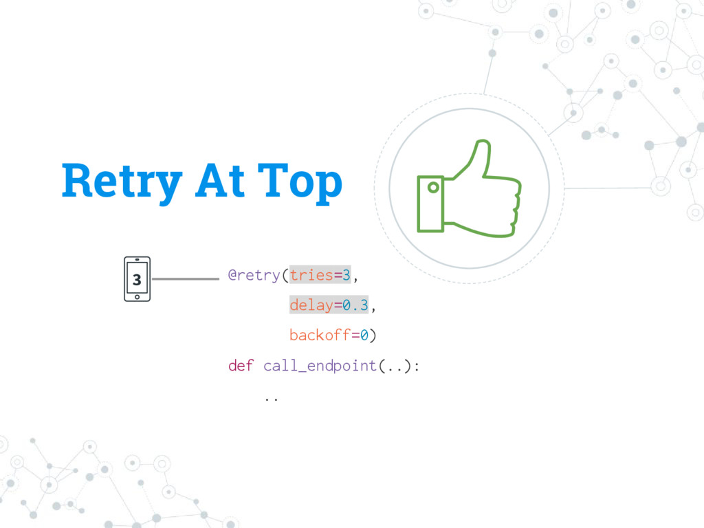 Retry At Top 3 @retry(tries=3, delay=0.3, backo...