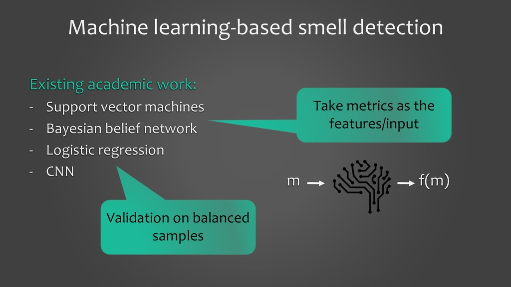 Machine learning-based smell detection Existing...