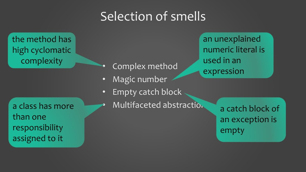 Selection of smells • Complex method • Magic nu...