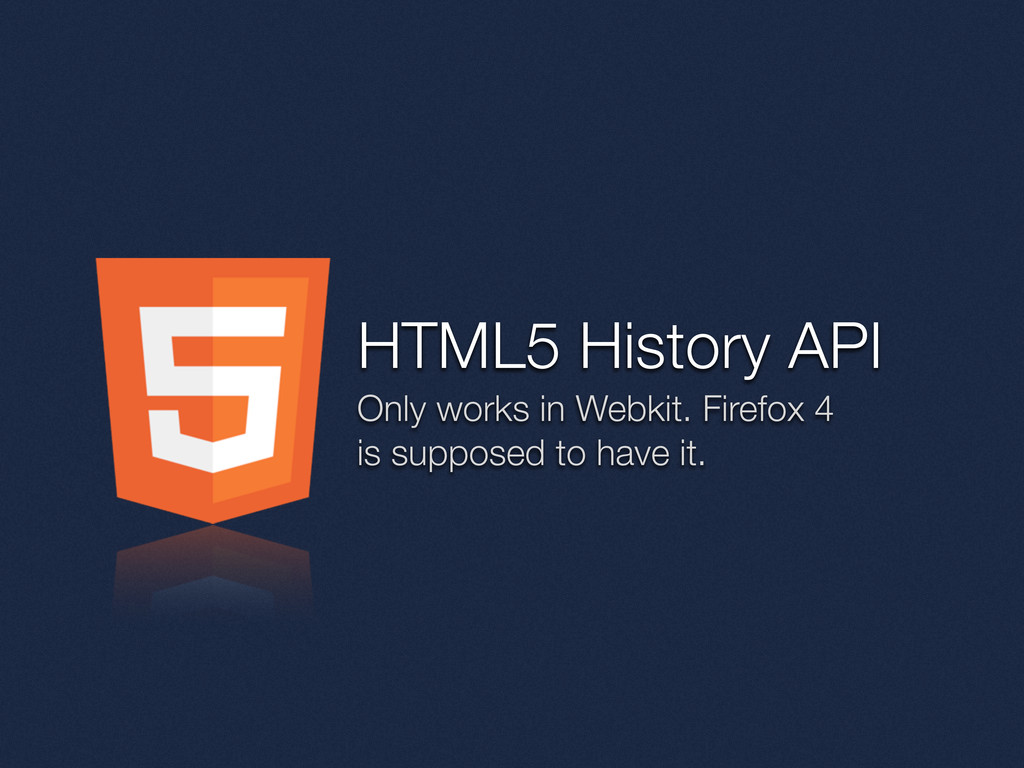 HTML5 History API Only works in Webkit. Firefox...