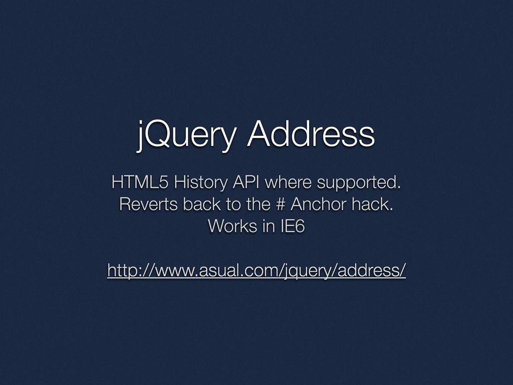 jQuery Address HTML5 History API where supporte...