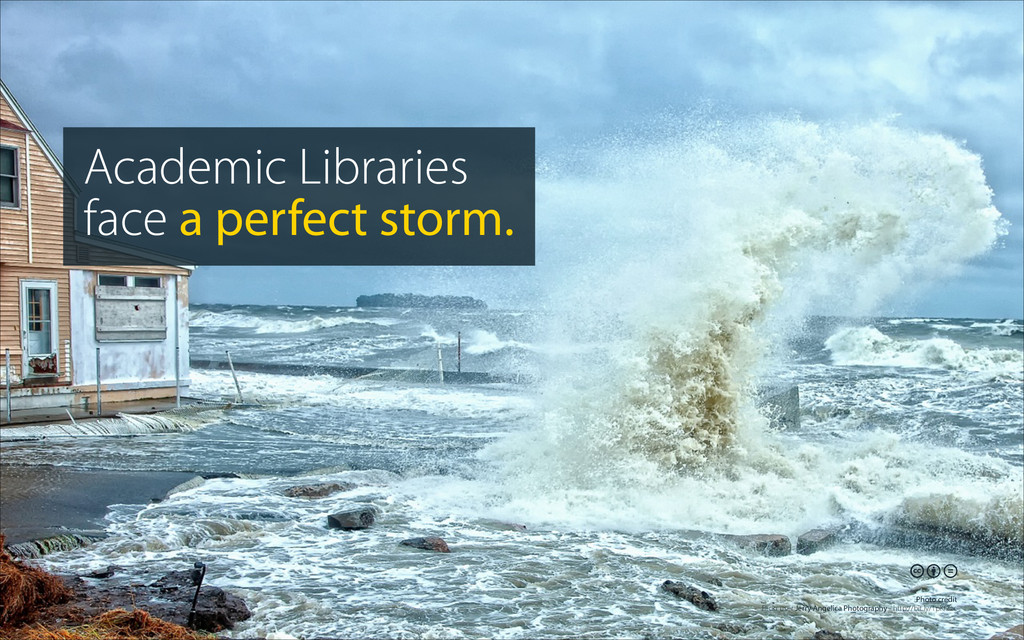 Academic Libraries face a perfect storm.  Photo...