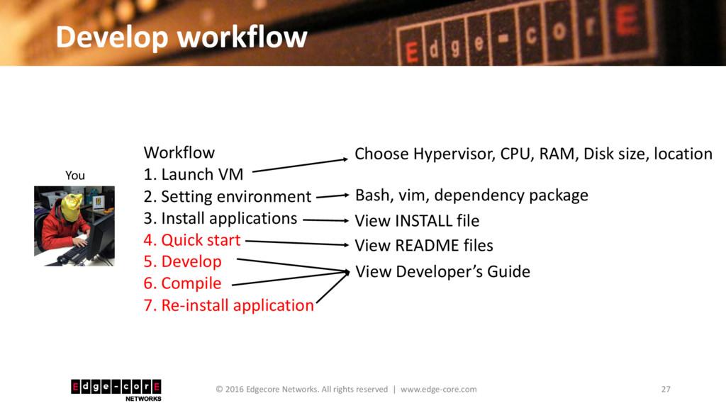Develop workflow 27 © 2016 Edgecore Networks. A...