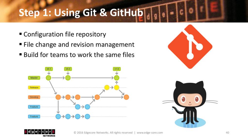 Step 1: Using Git & GitHub 40 © 2016 Edgecore N...