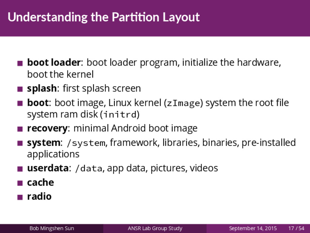 Understanding the Par on Layout boot loader: bo...