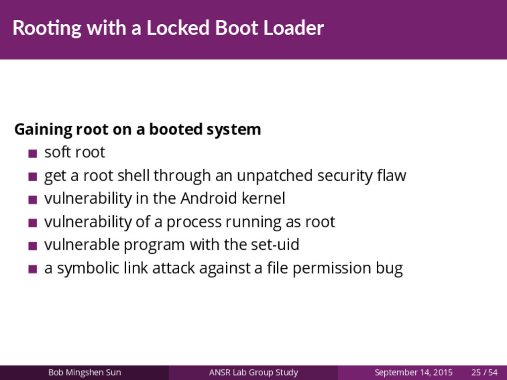 Roo ng with a Locked Boot Loader Gaining root o...