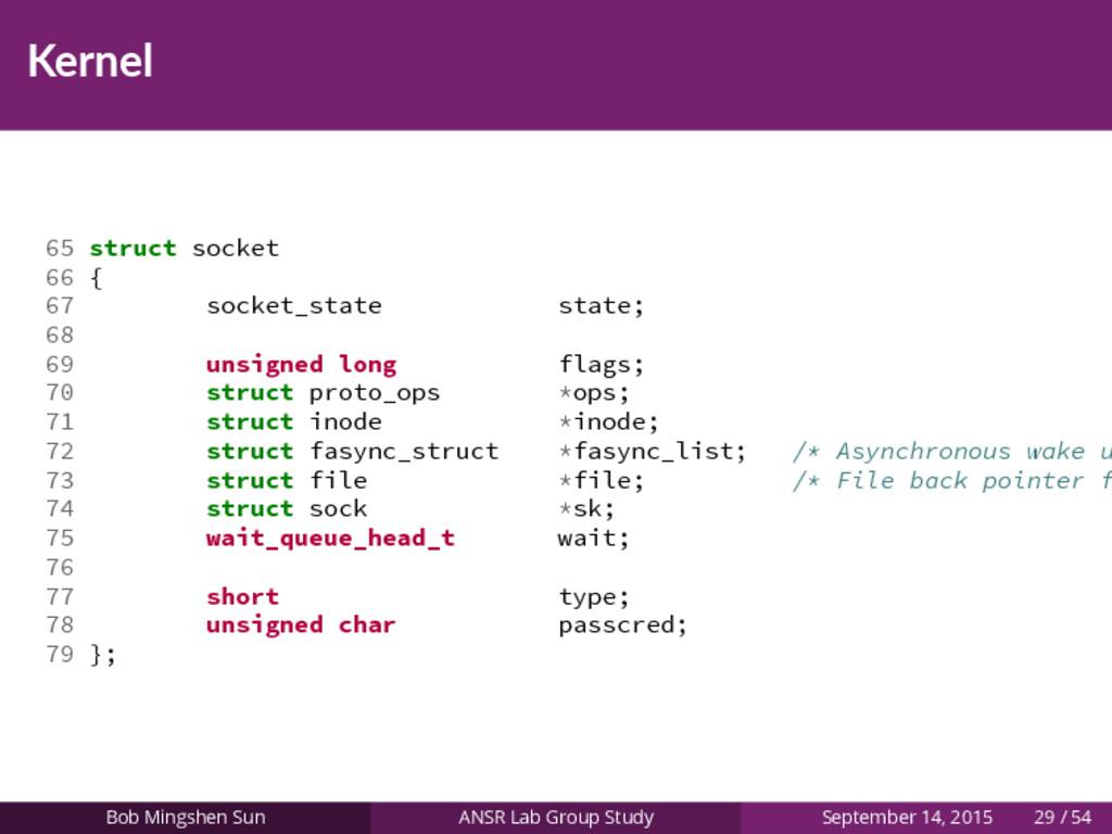 Kernel 65 struct socket 66 { 67 socket_state st...