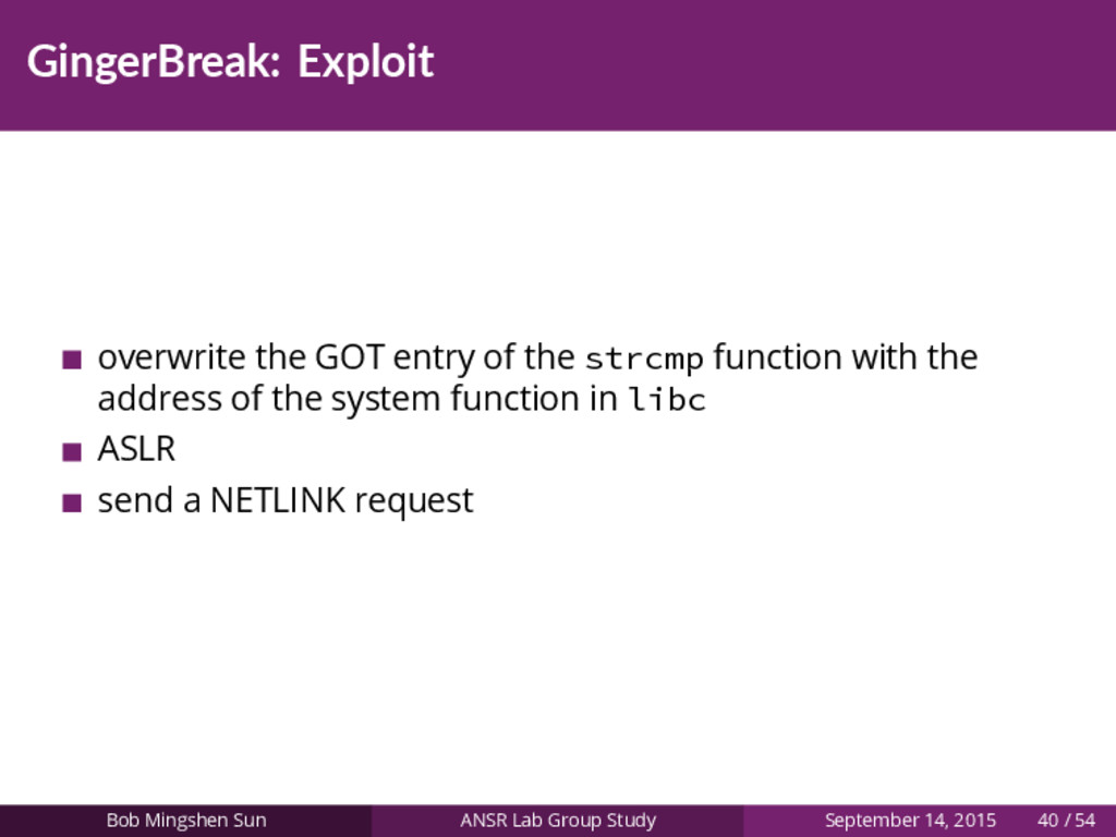 GingerBreak: Exploit overwrite the GOT entry of...