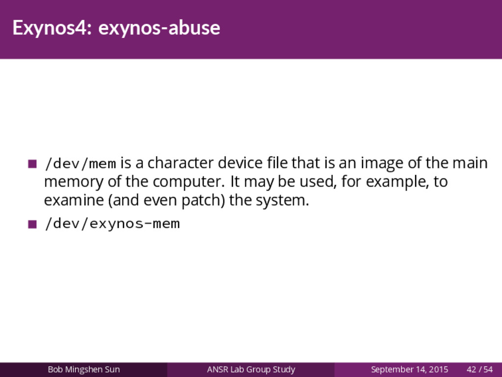 Exynos4: exynos-abuse /dev/mem is a character d...