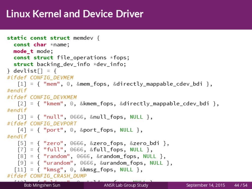 Linux Kernel and Device Driver static const str...