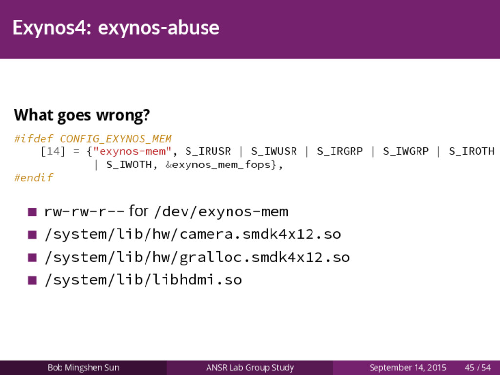 Exynos4: exynos-abuse What goes wrong? #ifdef C...