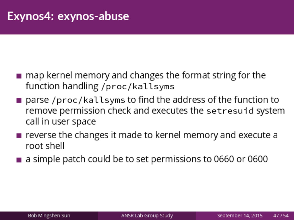 Exynos4: exynos-abuse map kernel memory and cha...