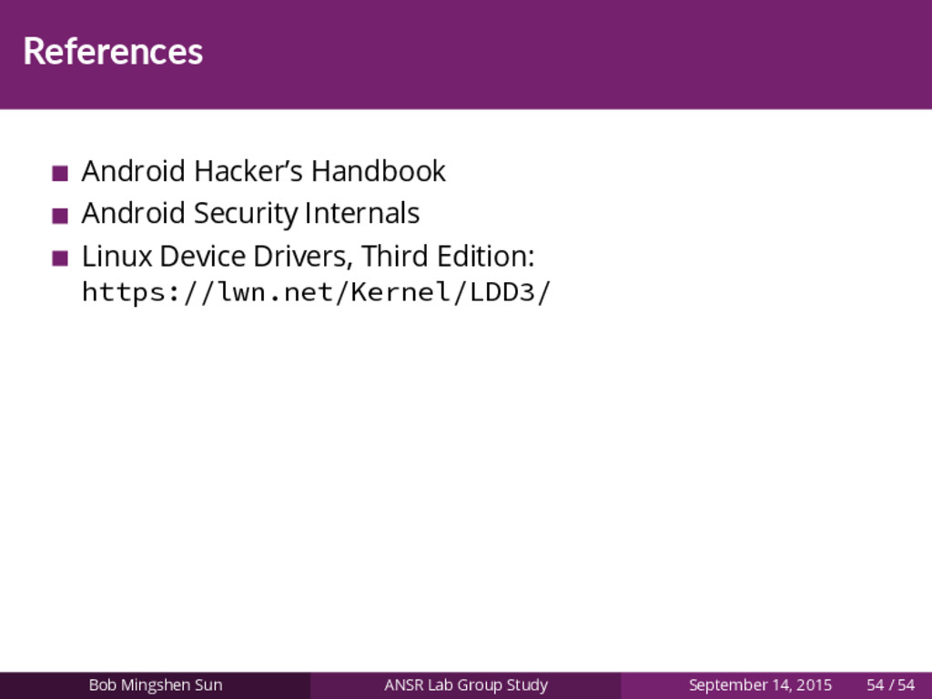 References Android Hacker's Handbook Android Se...