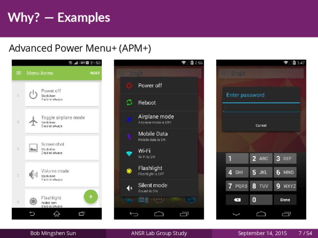 Why? — Examples Advanced Power Menu+ (APM+) Bob...
