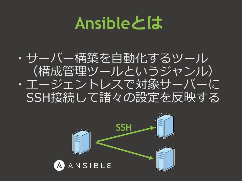 ・サーバー構築を自動化するツール (構成管理ツールというジャンル) ・エージェントレスで対象サ...
