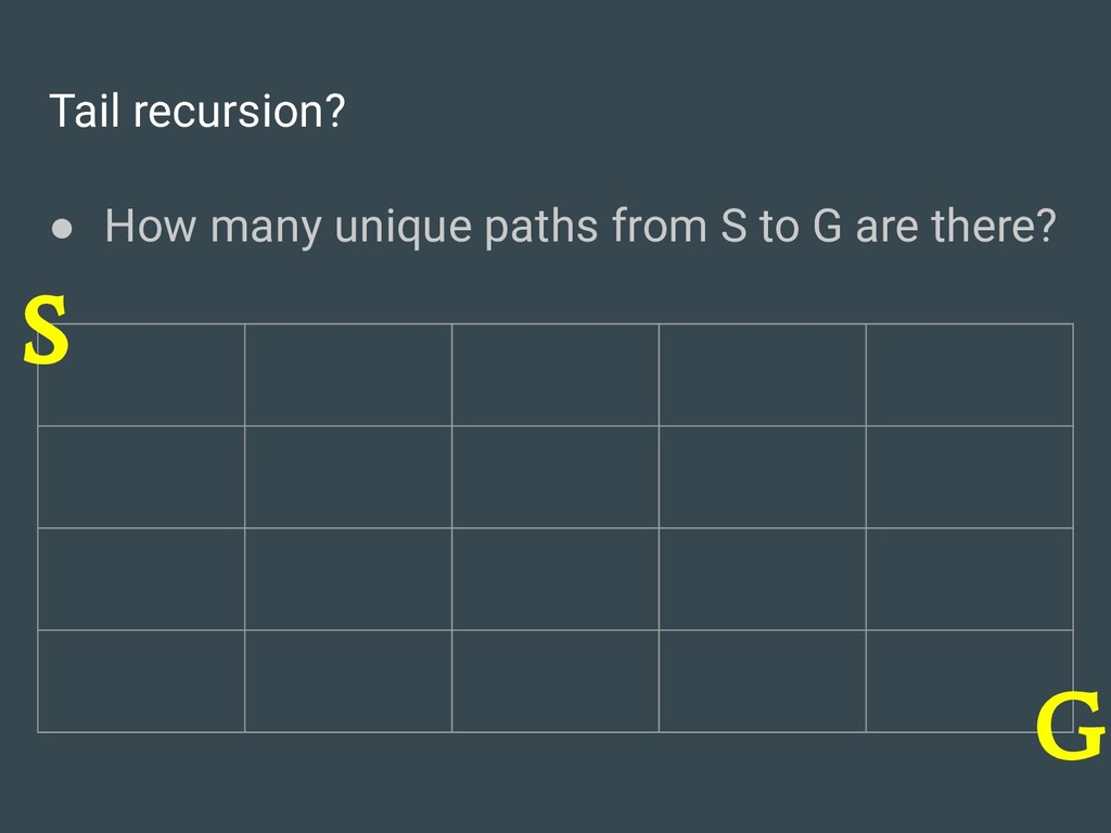 Tail recursion? ● How many unique paths from S ...