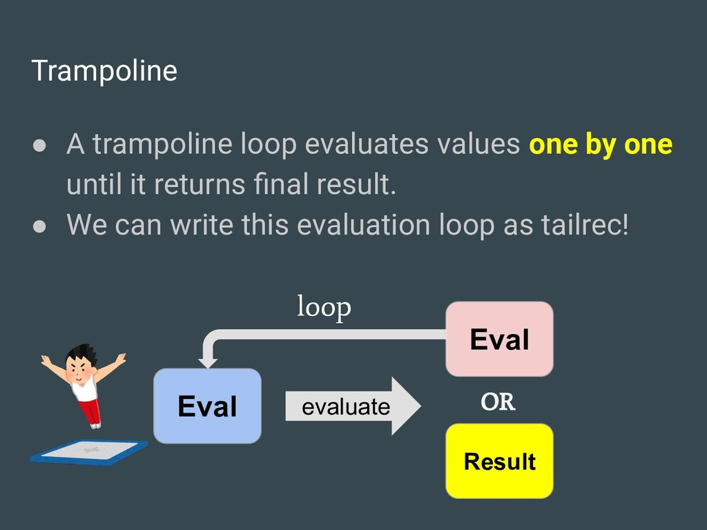 Trampoline ● A trampoline loop evaluates values...