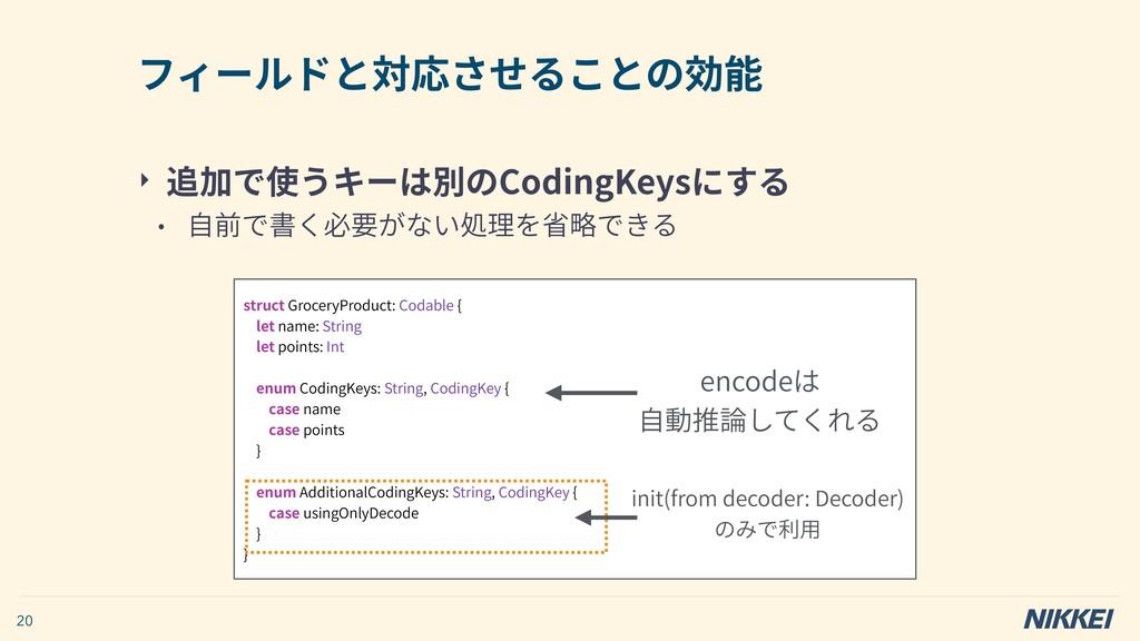 ‣ 追加で使うキーは別のCodingKeysにする • ⾃前で書く必要がない処理を省略できる ...