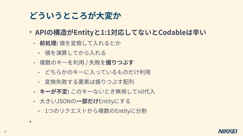 ‣ APIの構造がEntityと1:1対応してないとCodableは⾟い • 前処理: 値を変...
