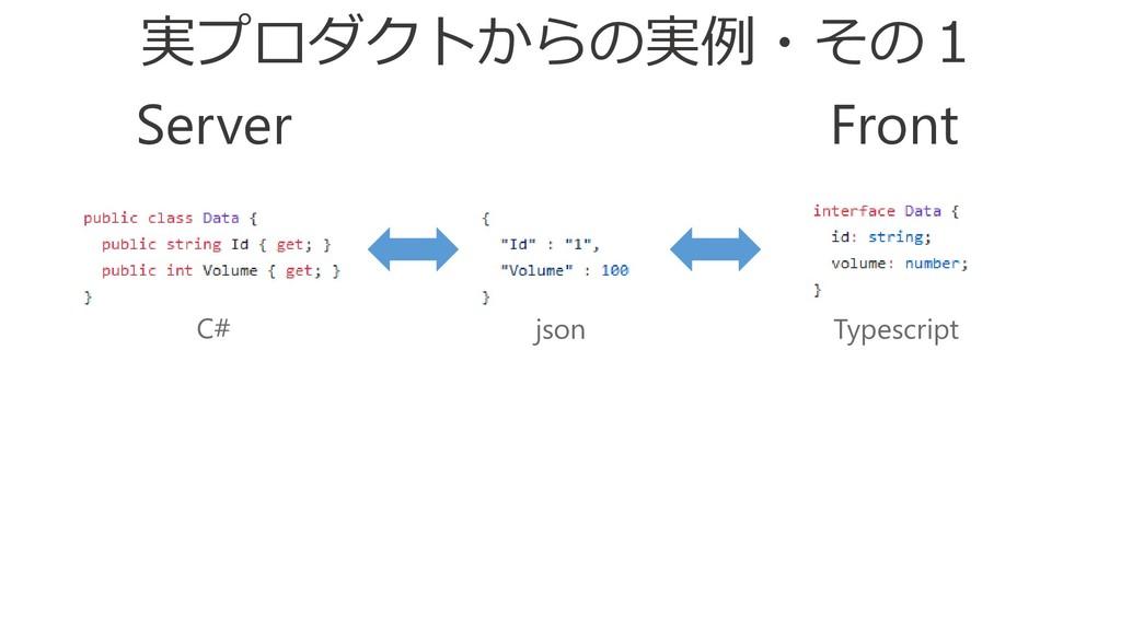 Front Server C# json Typescript 実プロダクトからの実例・その1