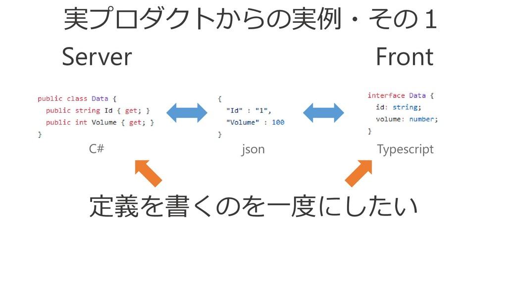 Front Server C# json Typescript 定義を書くのを一度にしたい 実...