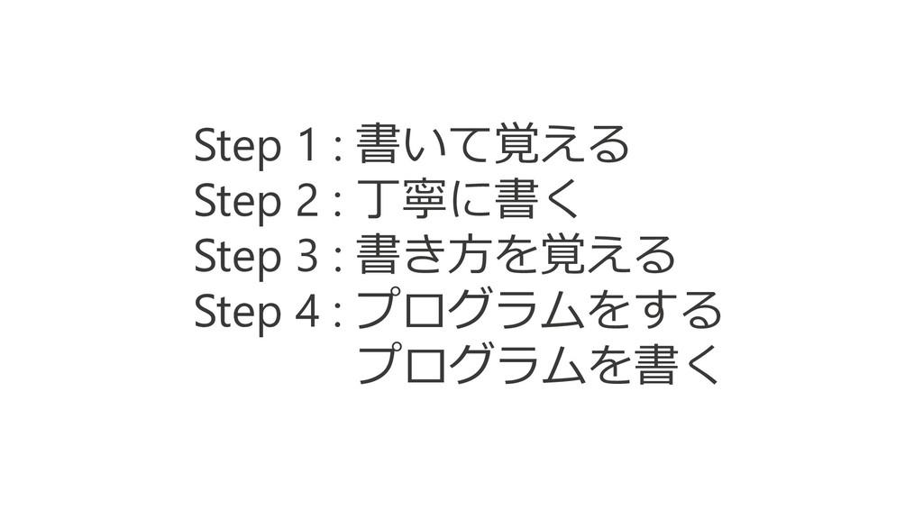 Step 1 : 書いて覚える Step 2 : 丁寧に書く Step 3 : 書き方を覚える...