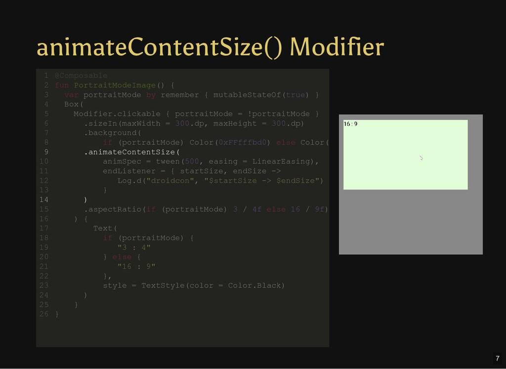 animateContentSize() Modifier @Composable fun P...