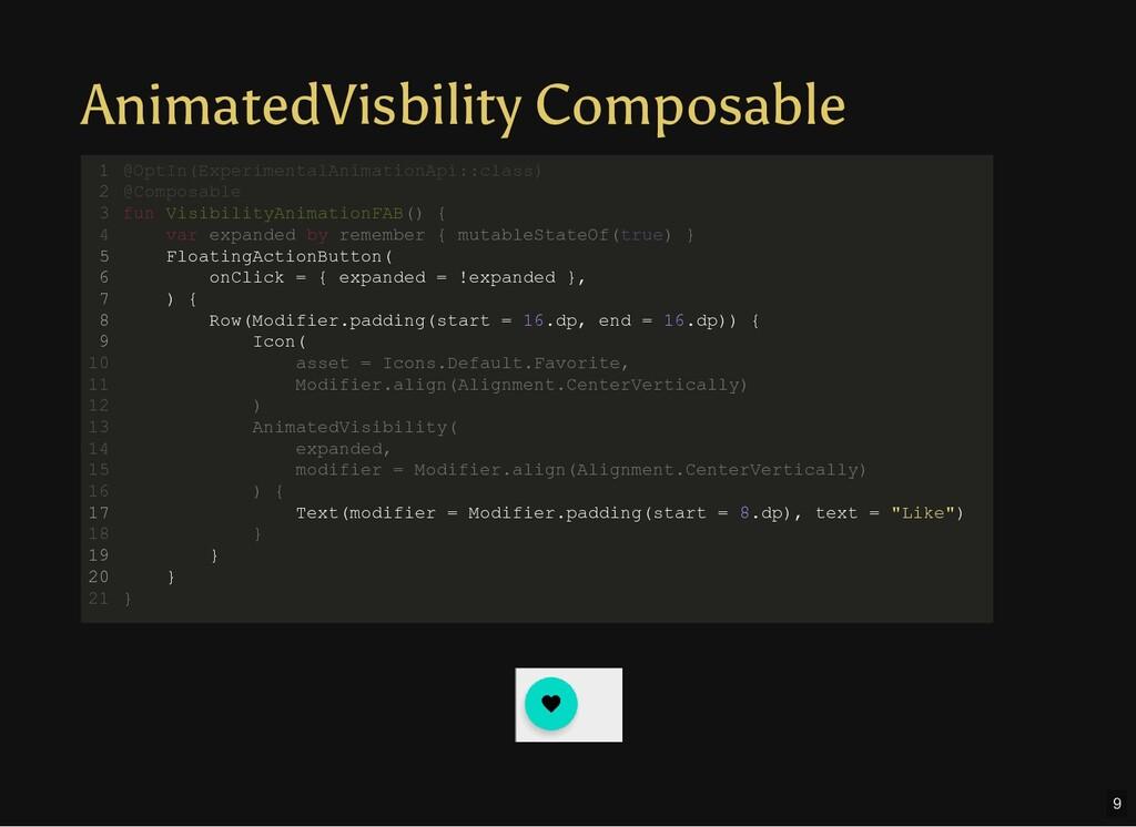AnimatedVisbility Composable @OptIn(Experimenta...