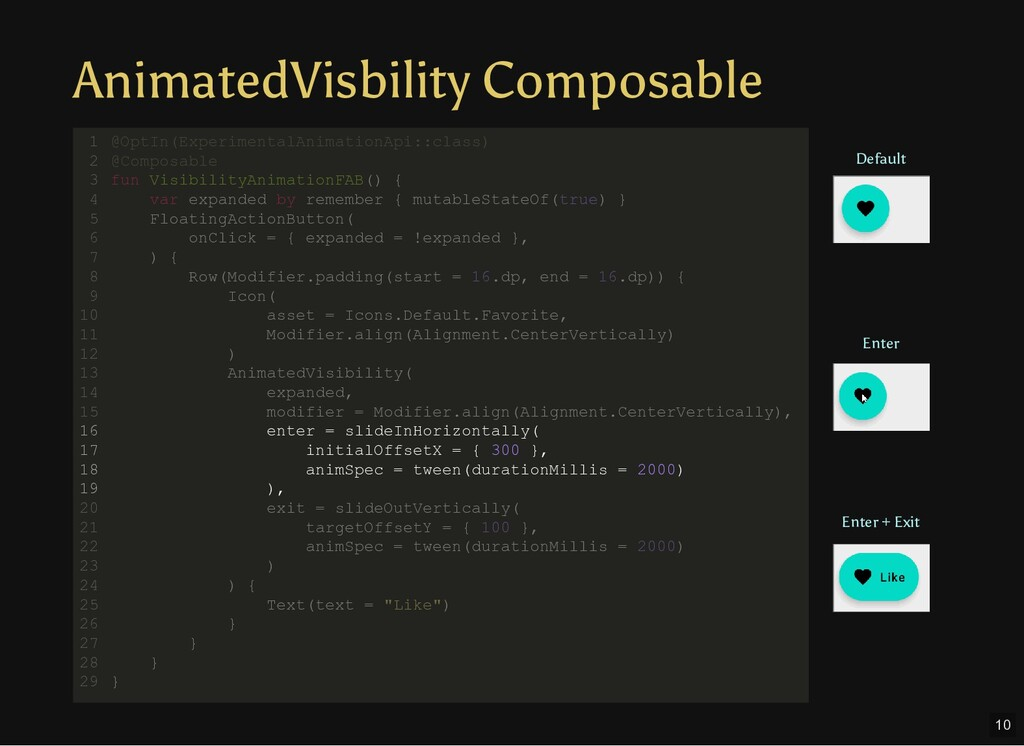 AnimatedVisbility Composable @OptIn(Experimenta...