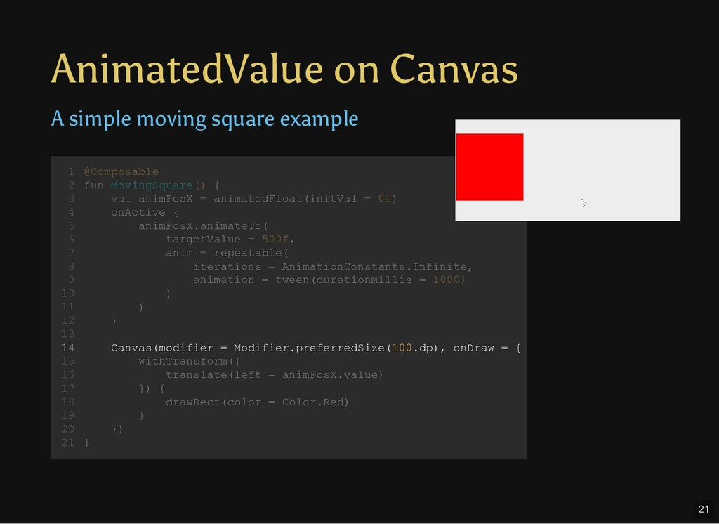 AnimatedValue on Canvas @Composable fun MovingS...