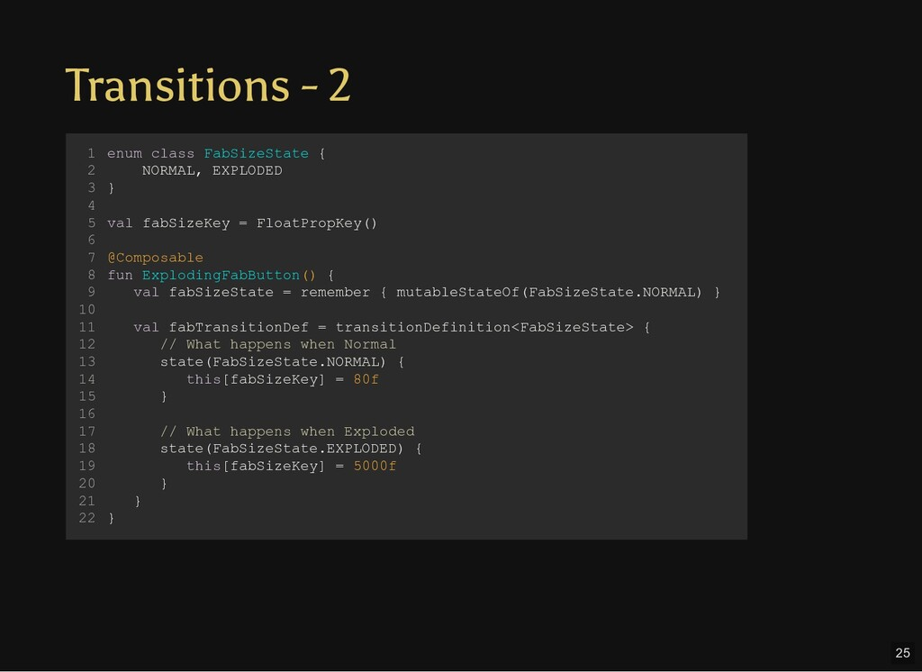 Transitions - 2 enum class FabSizeState { NORMA...