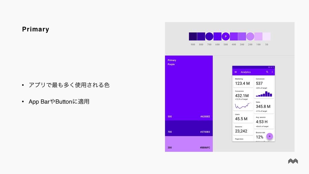 Primary • ΞϓϦͰ࠷ଟ͘༻͞ΕΔ৭ • App BarButtonʹద༻