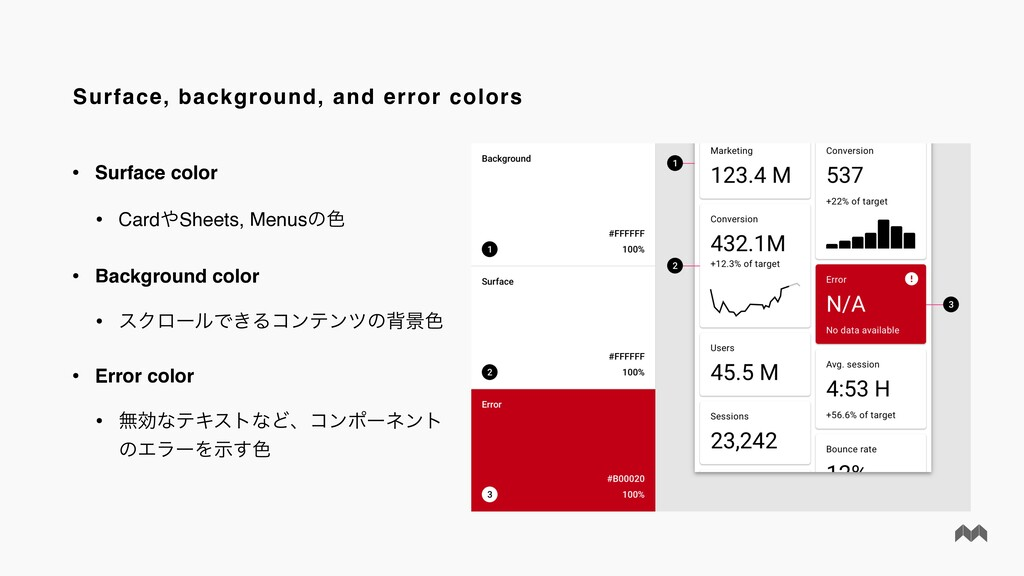 Surface, background, and error colors • Surface...