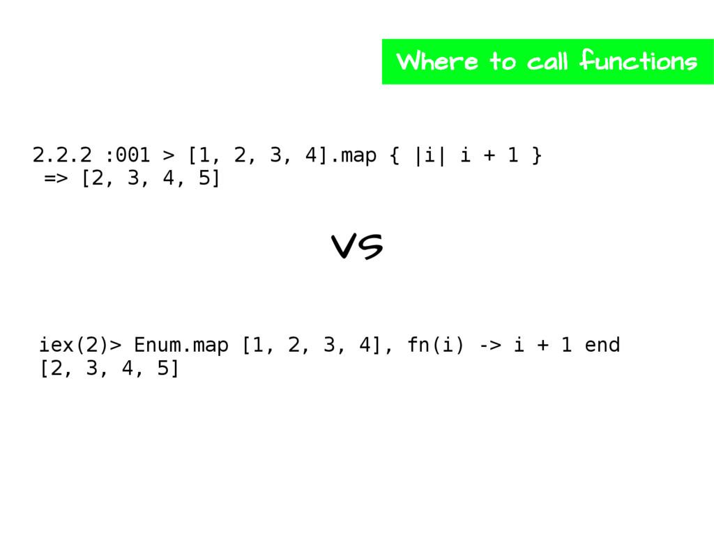2.2.2 :001 > [1, 2, 3, 4].map { |i| i + 1 } => ...