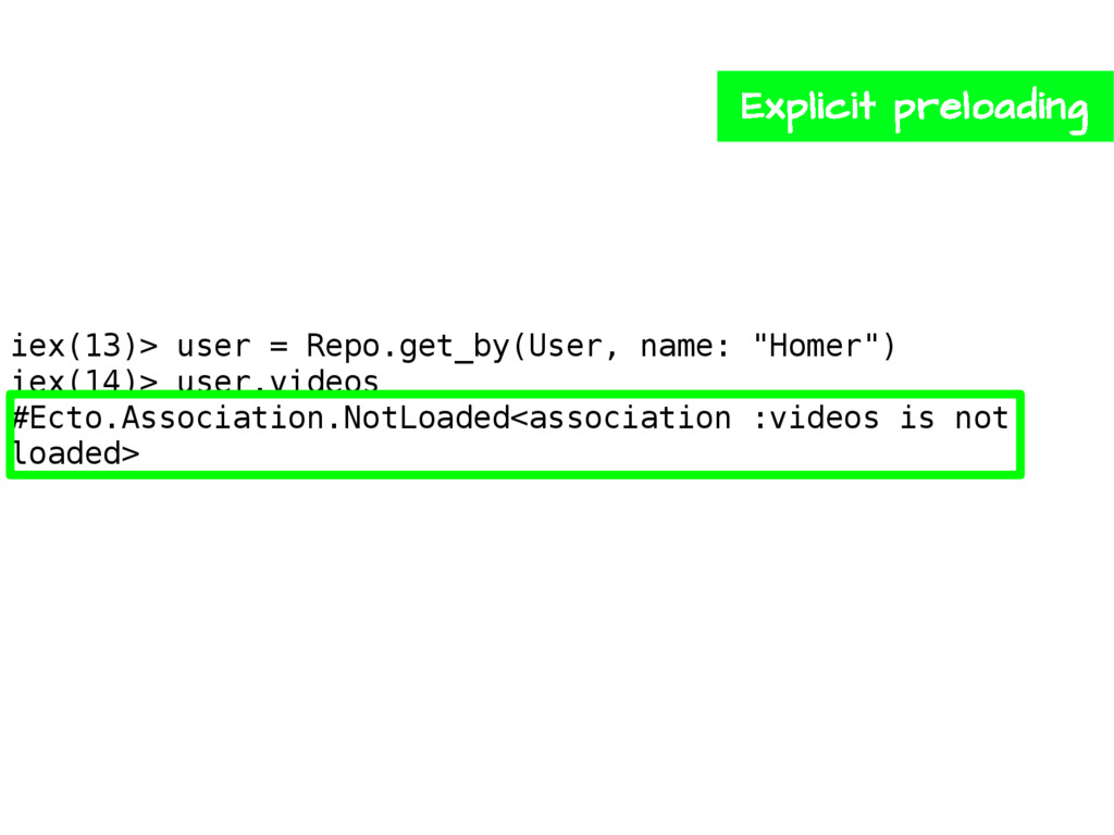 """iex(13)> user = Repo.get_by(User, name: """"Homer""""..."""