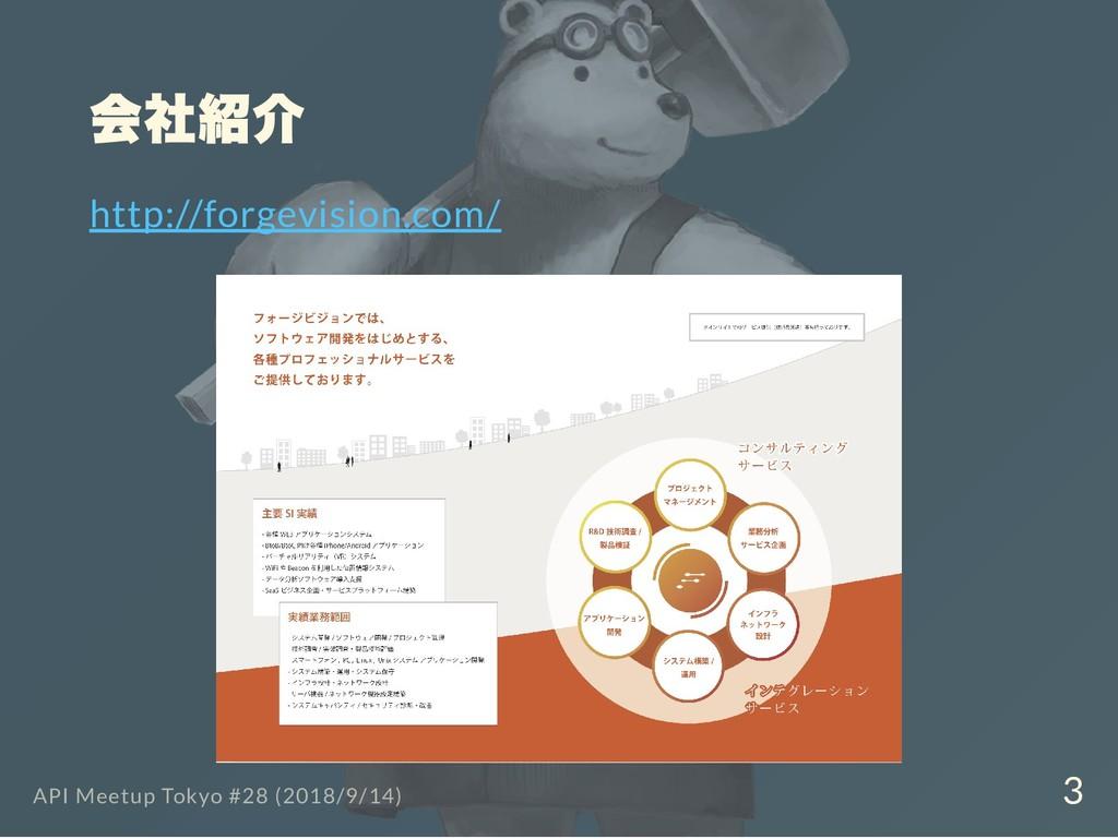 会社紹介 http://forgevision.com/ API Meetup Tokyo #...