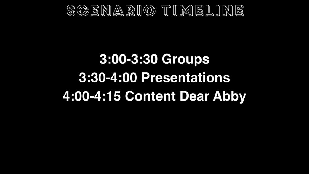 scenario timeline 3:00-3:30 Groups 3:30-4:00 Pr...