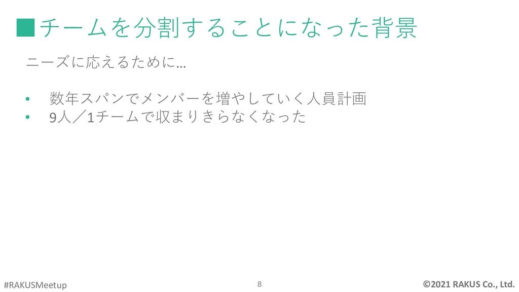 ©2021 RAKUS Co., Ltd. #RAKUSMeetup  あ ■チームを分割す...