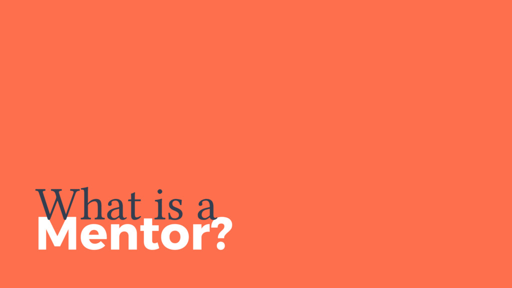 Mentor? What is a