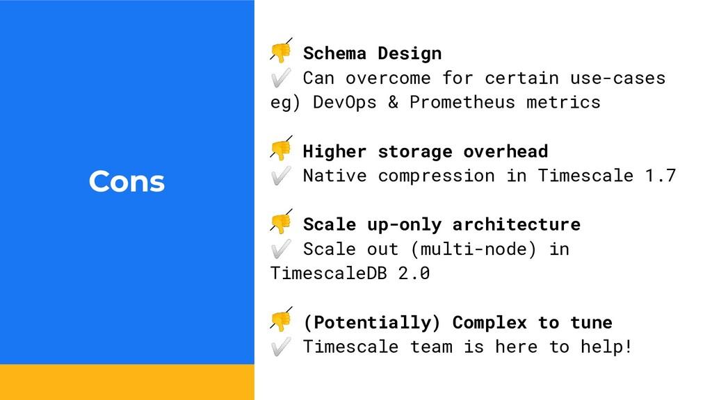 Cons  Schema Design ✅ Can overcome for certain ...