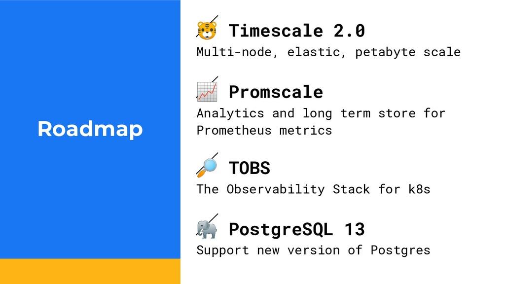 Roadmap  Timescale 2.0 Multi-node, elastic, pet...