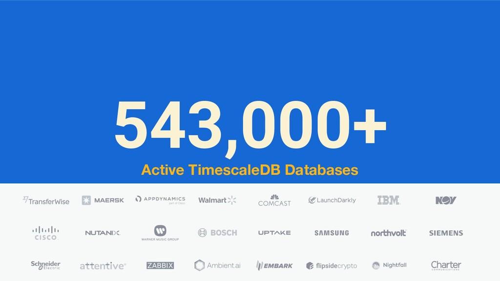 543,000+ Active TimescaleDB Databases