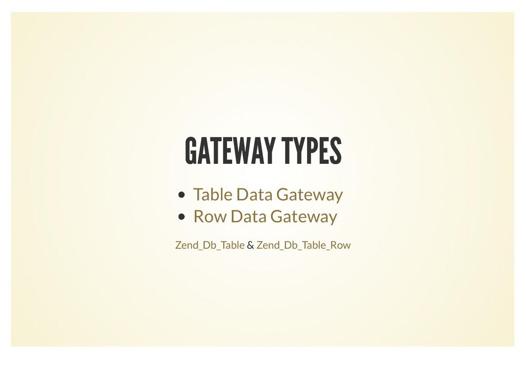 GATEWAY TYPES GATEWAY TYPES Table Data Gateway ...