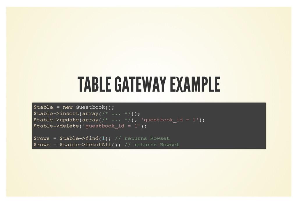 TABLE GATEWAY EXAMPLE TABLE GATEWAY EXAMPLE $ta...