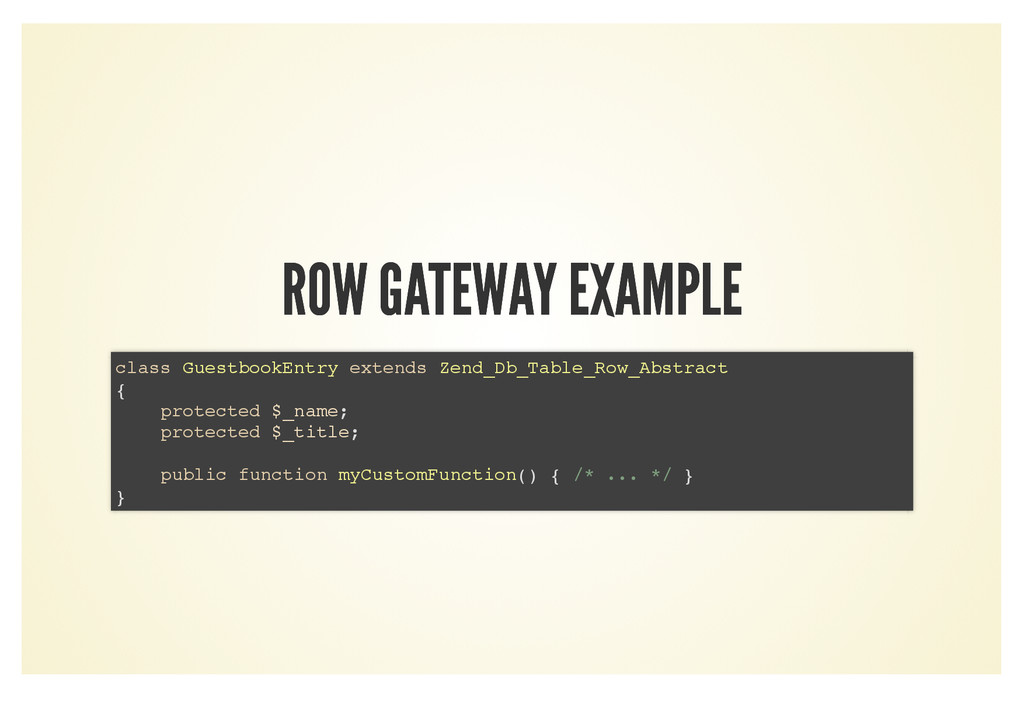 ROW GATEWAY EXAMPLE ROW GATEWAY EXAMPLE class G...