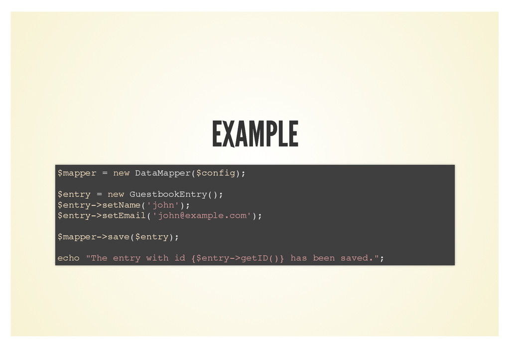EXAMPLE EXAMPLE $mapper = new DataMapper($confi...