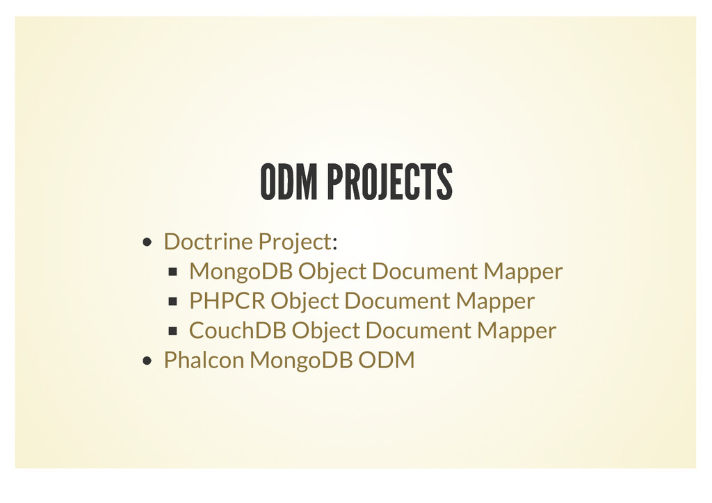 ODM PROJECTS ODM PROJECTS : Doctrine Project Mo...