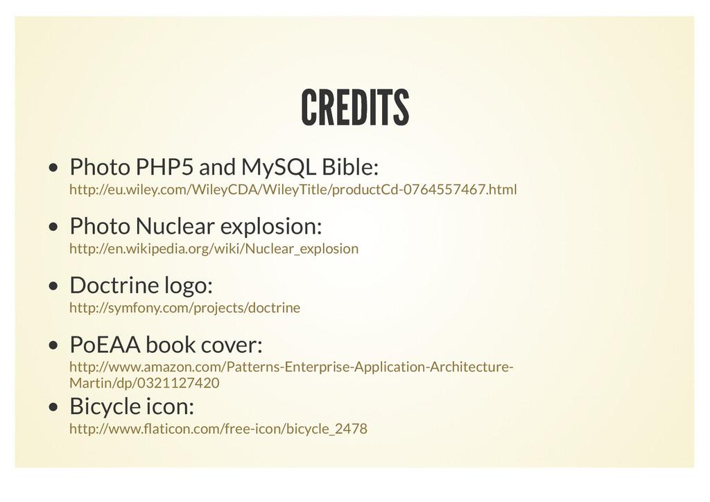 CREDITS CREDITS Photo PHP5 and MySQL Bible: Pho...