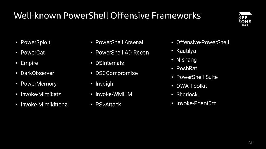 23 Well-known PowerShell Offensive Frameworks •...