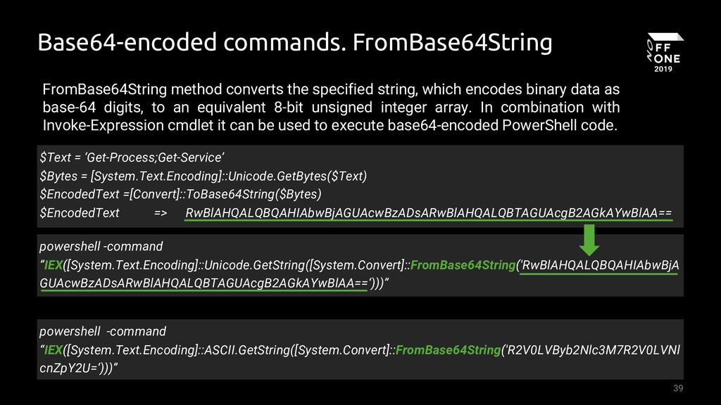 39 Base64-encoded commands. FromBase64String po...